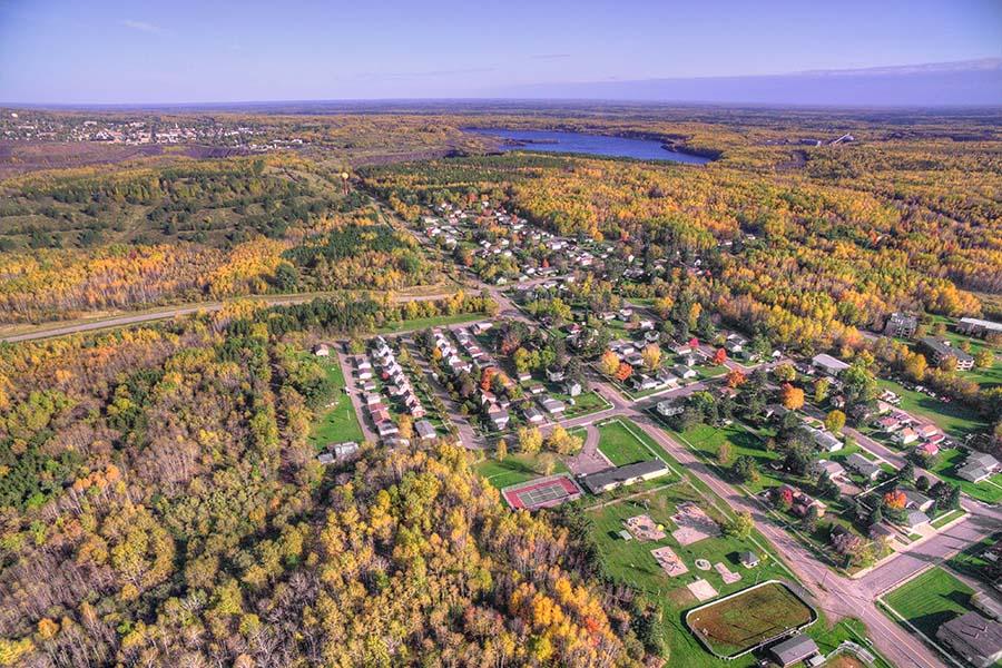 Barlett IL - Aerial View Of Small Town Bartlett Illinois